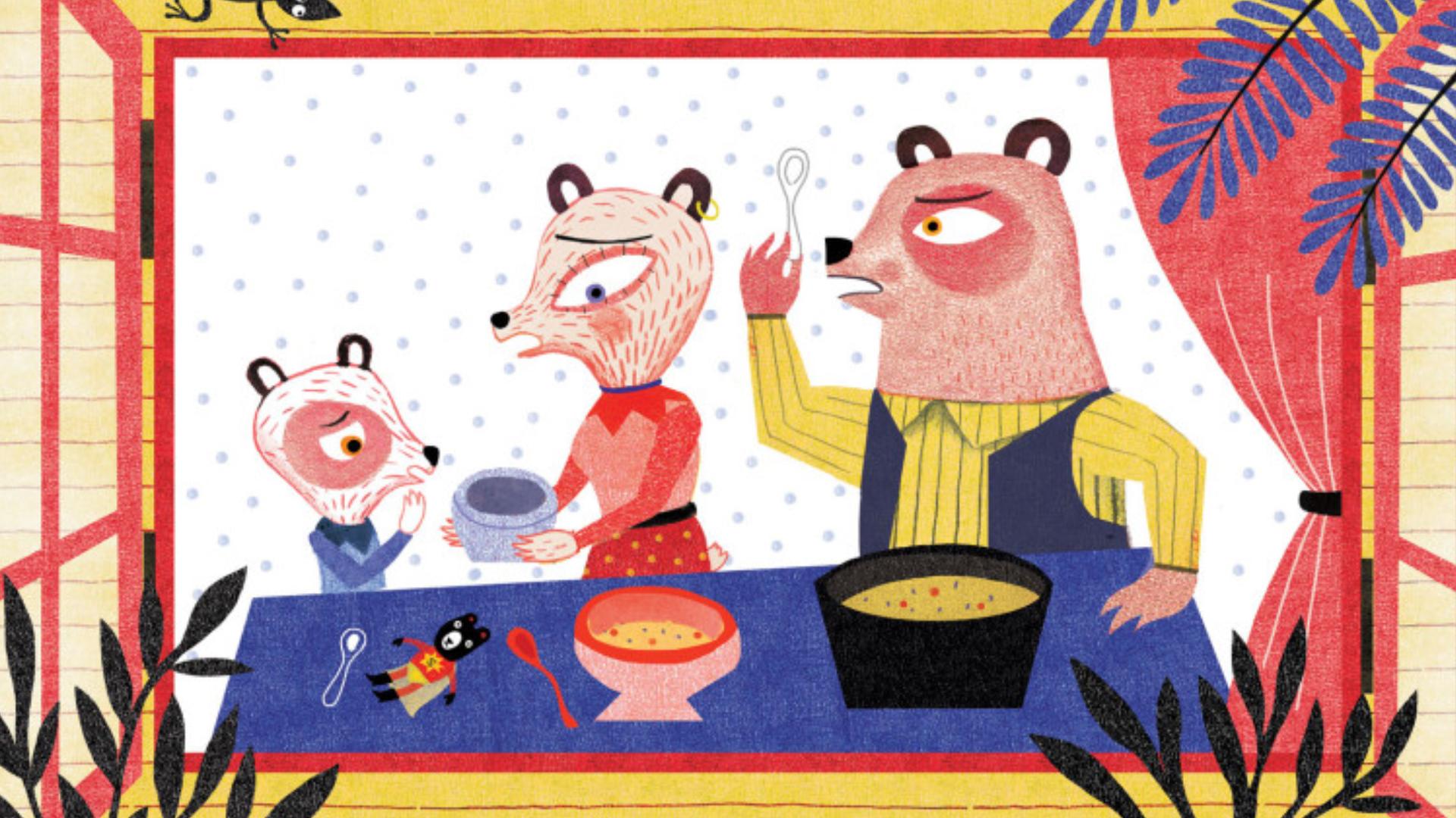 Ricitos de oro y los tres osos - Ilustración de Mariana Ruiz Johnson