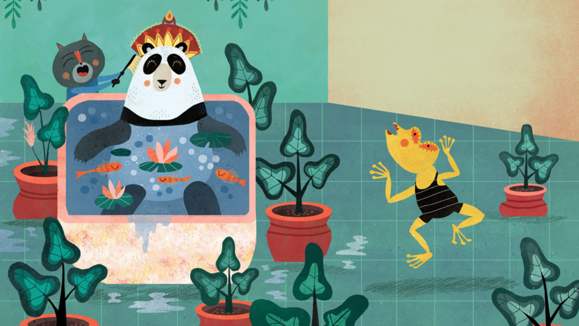 Ilustración del libro Dormir a la Reina Panda de Mariana Ruiz Johnson